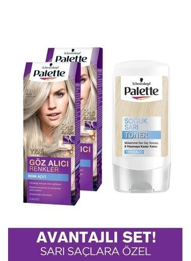 Palette Palette Kalıcı Doğal Renkler 2'li 101 Küllü Açık Renk AÇıcı ve Palette Soğuk Toner Set Renksiz